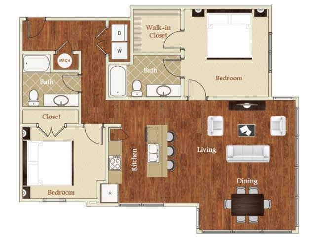 Two bedroom two bathroom B6 floorplan at St. Mary\'s Square Apartments in Raleigh, NC
