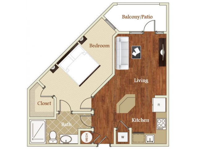 One bedroom one bathroom A9 floorplan at St. Mary\'s Square Apartments in Raleigh, NC