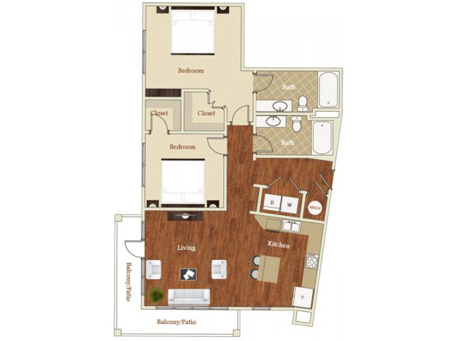 Two bedroom two bathroom B3 floorplan at St. Mary\'s Square Apartments in Raleigh, NC