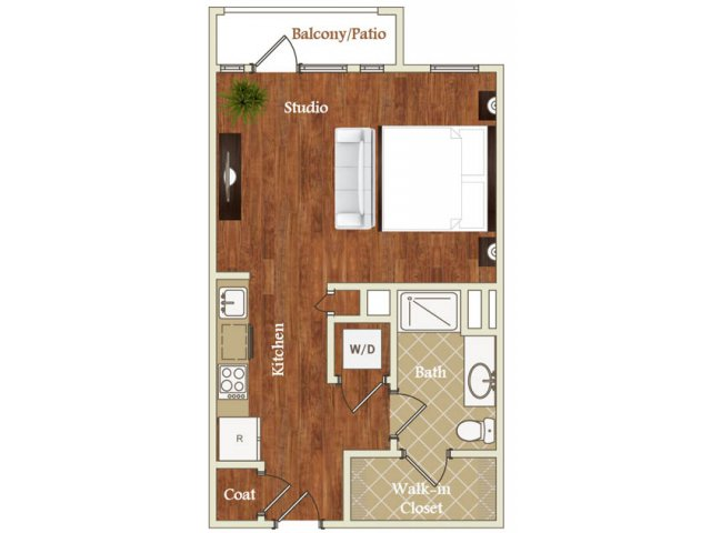 Studio one bathroom S3 floorplan at St. Mary\'s Square Apartments in Raleigh, NC