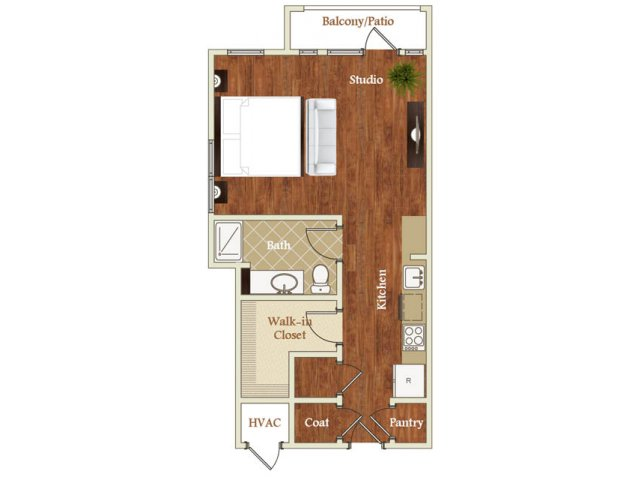 Studio one bathroom S5 floorplan at St. Mary\'s Square Apartments in Raleigh, NC