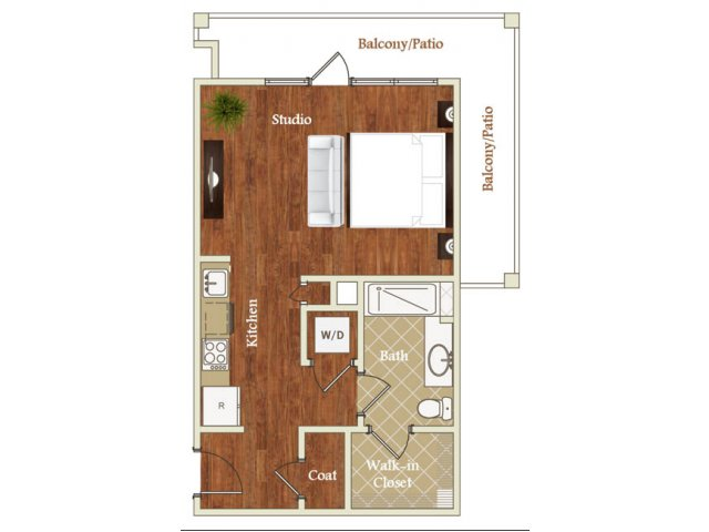 Studio one bathroom S10 floorplan at St. Mary\'s Square Apartments in Raleigh, NC