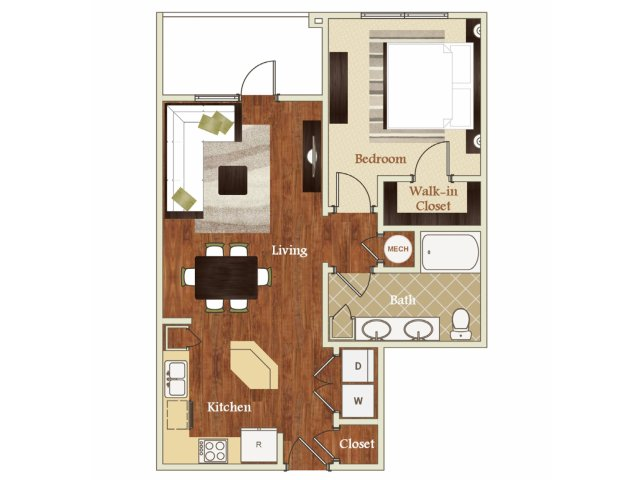 One bedroom one bathroom A3 Floorplan at Lofts at Weston Lakeside Apartments in Cary, NC