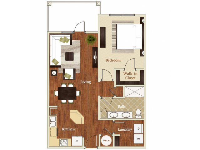 One bedroom one bathroom A5 Floorplan at Lofts at Weston Lakeside Apartments in Cary, NC