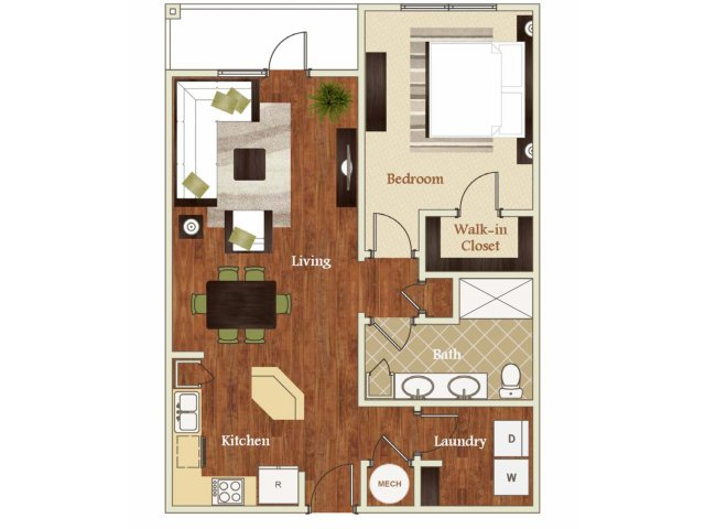 One bedroom one bathroom A7 Floorplan at Lofts at Weston Lakeside Apartments in Cary, NC