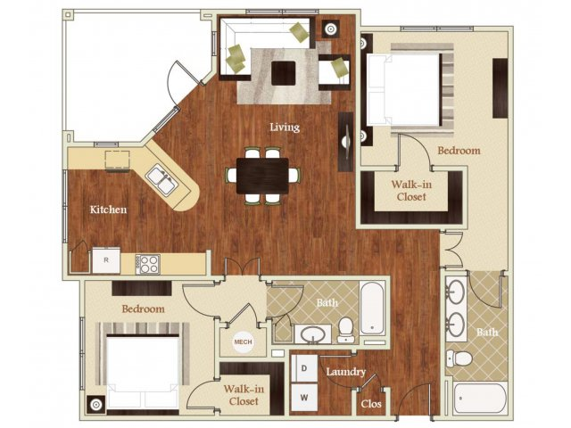 Two bedroom two bathroom B3 Floorplan at Lofts at Weston Lakeside Apartments in Cary, NC