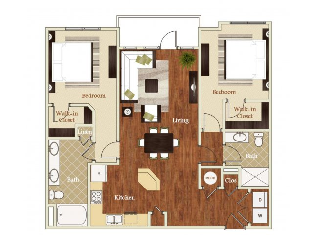 Two bedroom two bathroom B1 Floorplan at Lofts at Weston Lakeside Apartments in Cary, NC