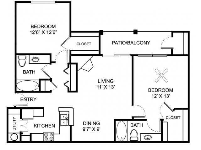 Two bedroom two bathroom B2 floor plan at Center Point Apartment Homes in Indianapolis, IN