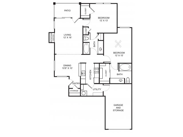 Two bedroom two bathroom B3 floor plan at Center Point Apartment Homes in Indianapolis, IN