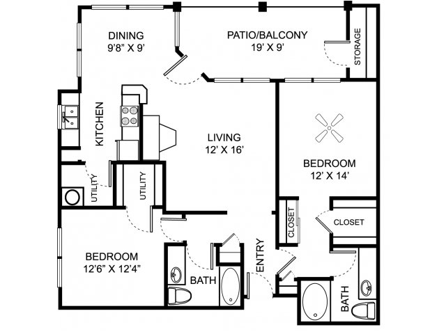 Two bedroom two bathroom B4 floor plan at Center Point Apartment Homes in Indianapolis, IN