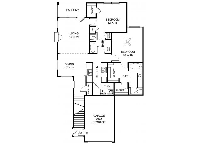 Two bedroom two bathroom B5 floor plan at Center Point Apartment Homes in Indianapolis, IN