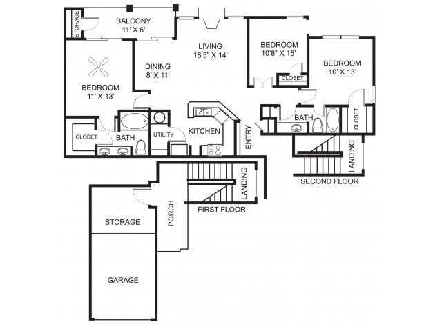 Three bedroom two bathroom C2 floor plan at Center Point Apartment Homes in Indianapolis, IN