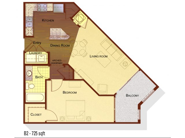 One bedroom one bathroom A1 floorplan at Apartments at the Arboretum in Cary, NC