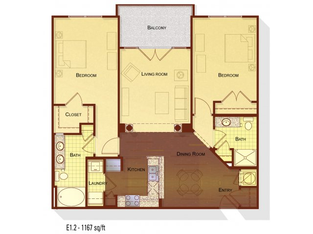 Two bedroom two bathroom B2 floorplan at Apartments at the Arboretum in Cary, NC