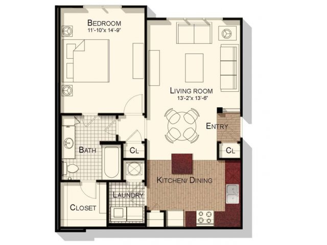 One bedroom one bathroom 800 sqft floorplan at Southpoint Village Apartments in Durham, NC