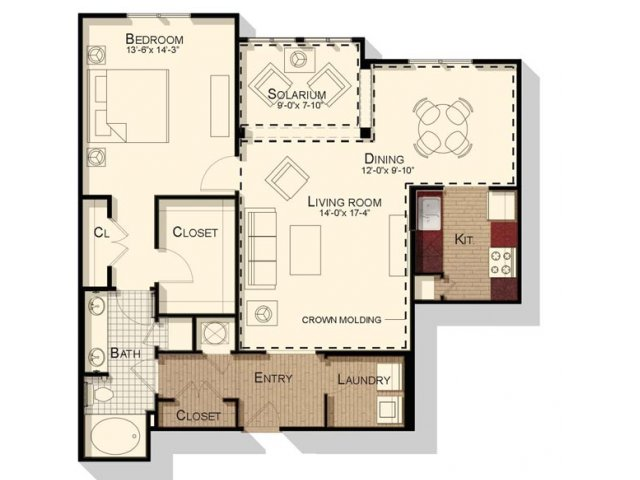 One bedroom one bathroom 1100 sqft floorplan at Southpoint Village Apartments in Durham, NC