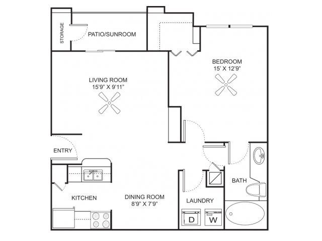 One bedroom one bathroom A1 floorplan at Marela Apartments in Pembroke Pines, FL
