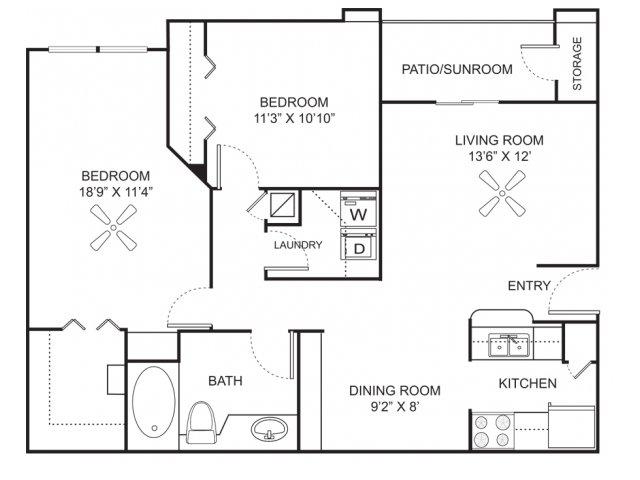 Two bedroom one bathroom B1 floorplan at Marela Apartments in Pembroke Pines, FL