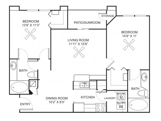 Two bedroom two bathroom B2 floorplan at Marela Apartments in Pembroke Pines, FL
