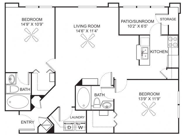 Two bedroom two bathroom B3 floorplan at Marela Apartments in Pembroke Pines, FL