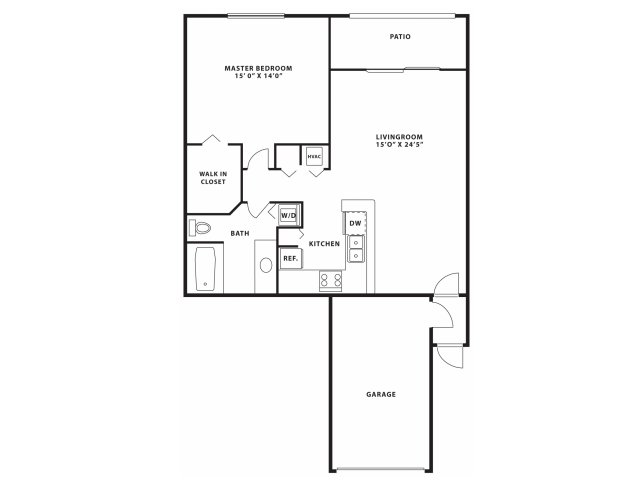One bedroom one bathroom A2 Floorplan at Doral West Apartment Homes in Doral, FL