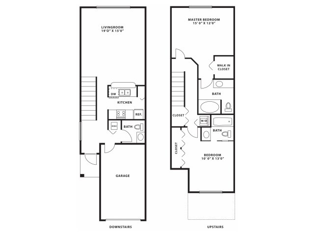 Two bedroom two and a half bathroom B3TH Floorplan at Doral West Apartment Homes in Doral, FL