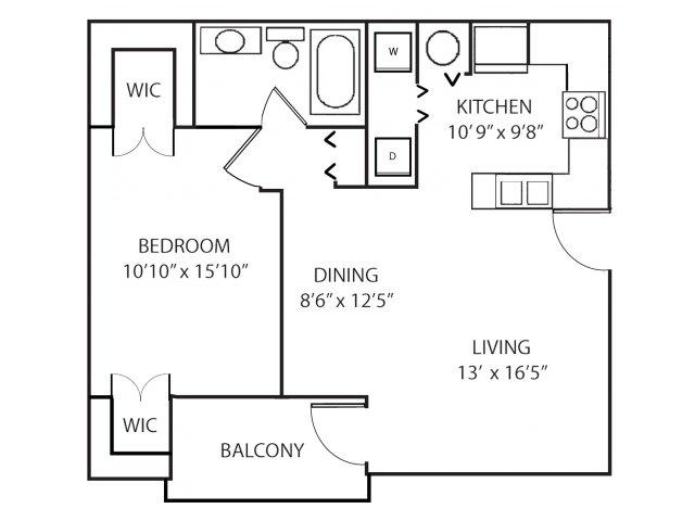 One bedroom one bathroom A1 floorplan at Waterstone at Wellington Apartments in Wellington, FL