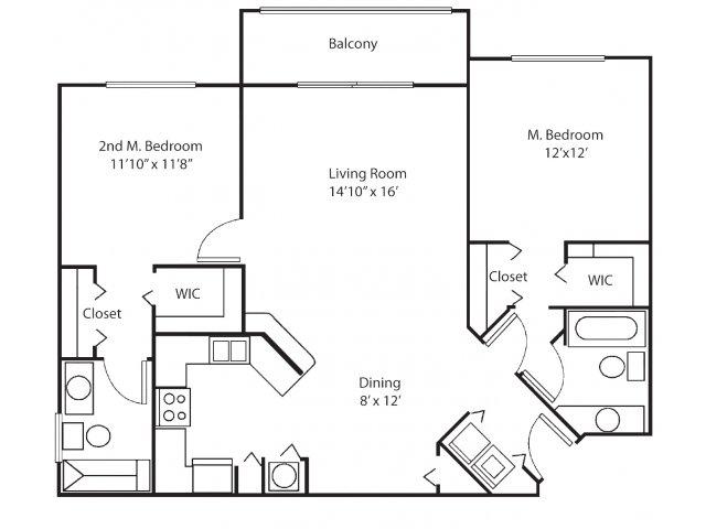 Two bedroom two bathroom B2 floorplan at Waterstone at Wellington Apartments in Wellington, FL