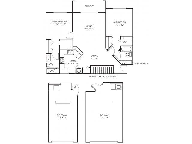 Two bedroom two bathroom B3 floorplan at Waterstone at Wellington Apartments in Wellington, FL