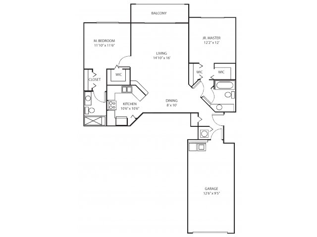 Two bedroom two bathroom B1 floorplan at Waterstone at Wellington Apartments in Wellington, FL