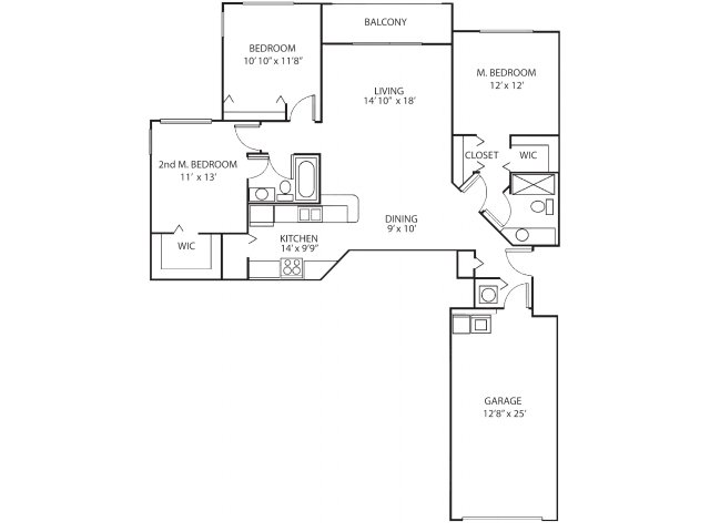 Three bedroom two bathroom C1 floorplan at Waterstone at Wellington Apartments in Wellington, FL