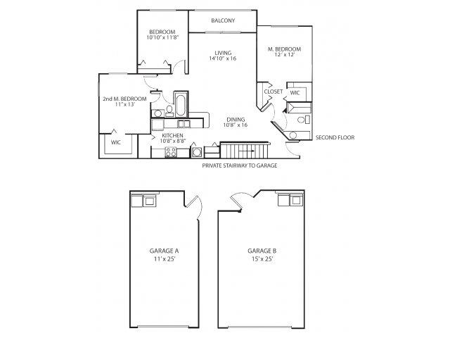 Three bedroom two bathroom C3 floorplan at Waterstone at Wellington Apartments in Wellington, FL