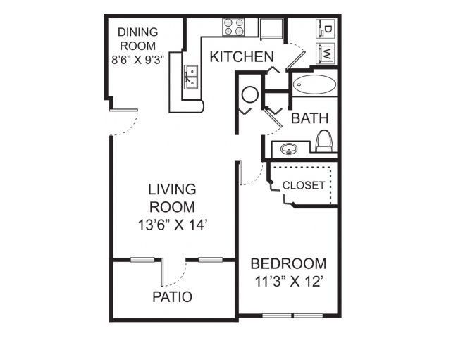 One bedroom one bathroom A1 floorplan at Vista Lago Apartments in West Palm Beach, FL