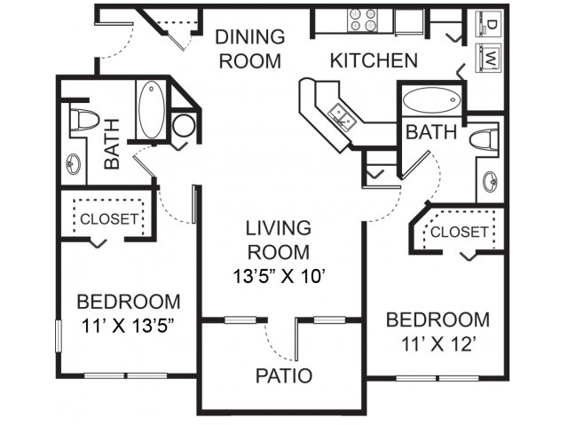 Two bedroom two bathroom B1 floorplan at Vista Lago Apartments in West Palm Beach, FL