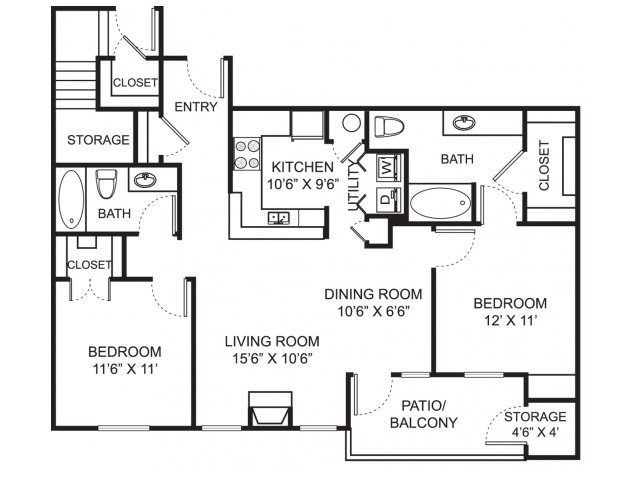 Two bedroom two bathroom B3 floorplan at Steeplechase at Shiloh Crossing Apartments in Avon, IN