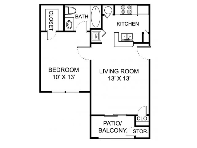 One bedroom one bathroom A1 floorplan at The Residence at White River Apartments in Indianapolis, IN