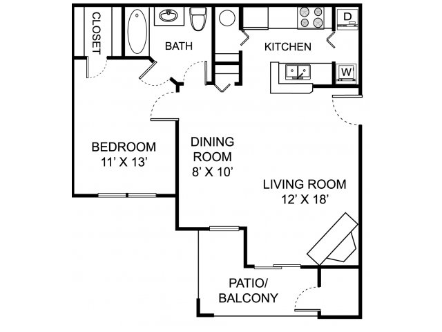 One bedroom one bathroom A2 floorplan at The Residence at White River Apartments in Indianapolis, IN