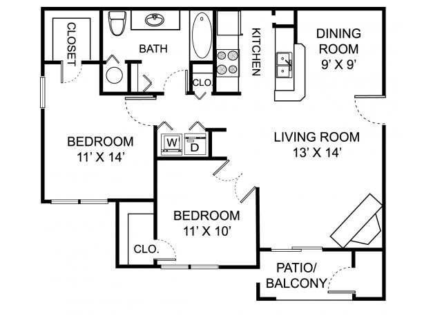 Two bedroom one bathroom B1 floorplan at The Residence at White River Apartments in Indianapolis, IN