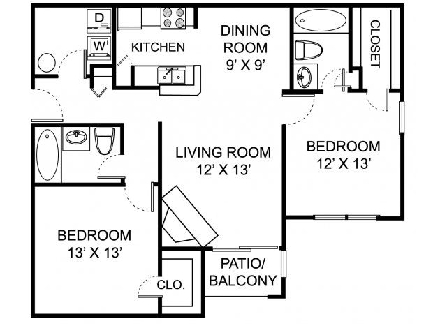Two bedroom two bathroom B2 floorplan at The Residence at White River Apartments in Indianapolis, IN