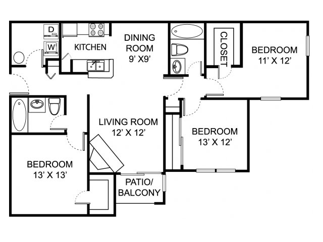 Three bedroom two bathroom C1 floorplan at The Residence at White River Apartments in Indianapolis, IN