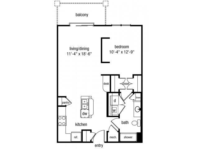 Studio one bathroom S2 floorplan at The Alexander at Ghent Apartment Homes in Norfolk, VA