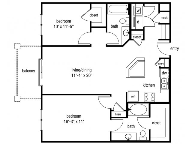 Two bedroom two bathroom B1 floorplan at The Alexander at Ghent Apartment Homes in Norfolk, VA