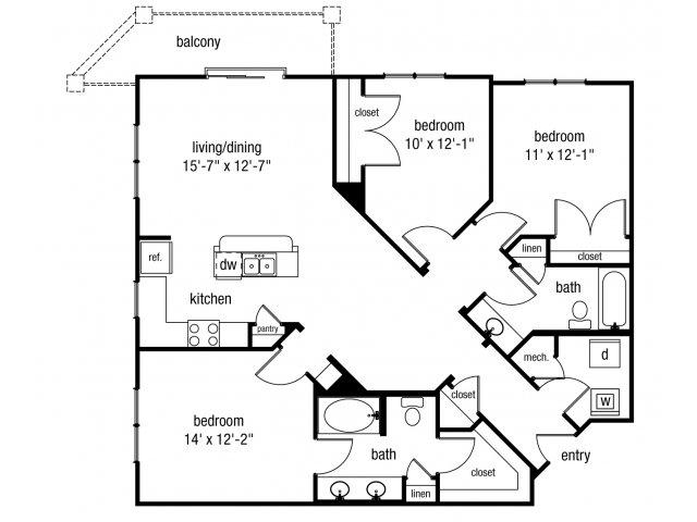 Three bedroom two bathroom C1 floorplan at The Alexander at Ghent Apartment Homes in Norfolk, VA