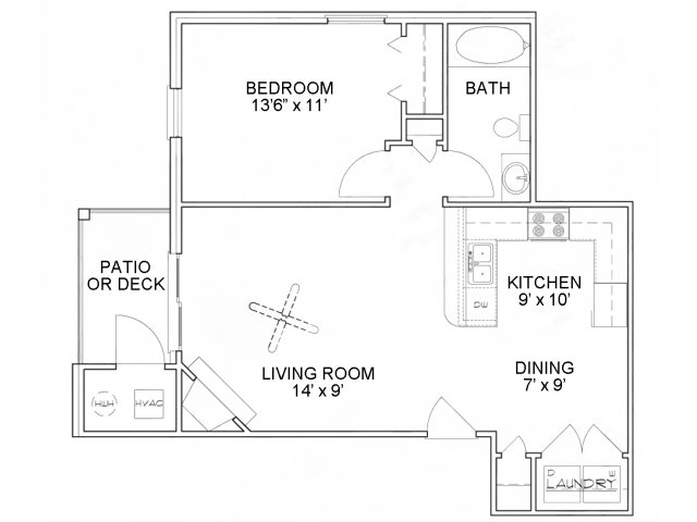 One bedroom one bathroom A1 Floorplan at River Forest Apartments in Chester, VA