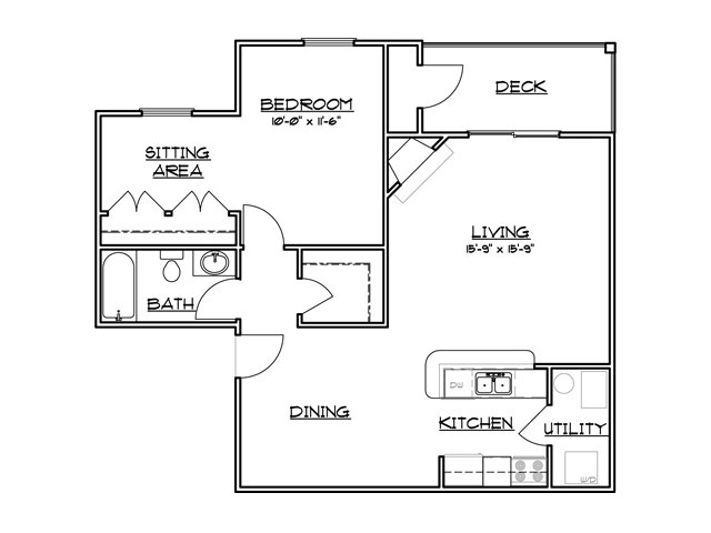 One bedroom one bathroom A3 Floorplan at River Forest Apartments in Chester, VA