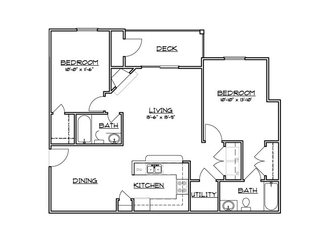 Two bedroom two bathroom B2 Floorplan at River Forest Apartments in Chester, VA