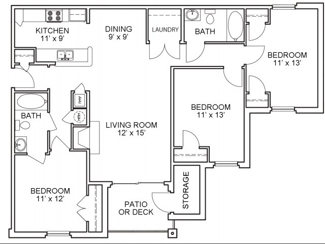 Three bedroom two bathroom C1 floorplan at The Belvedere Apartments in North Chesterfield, VA
