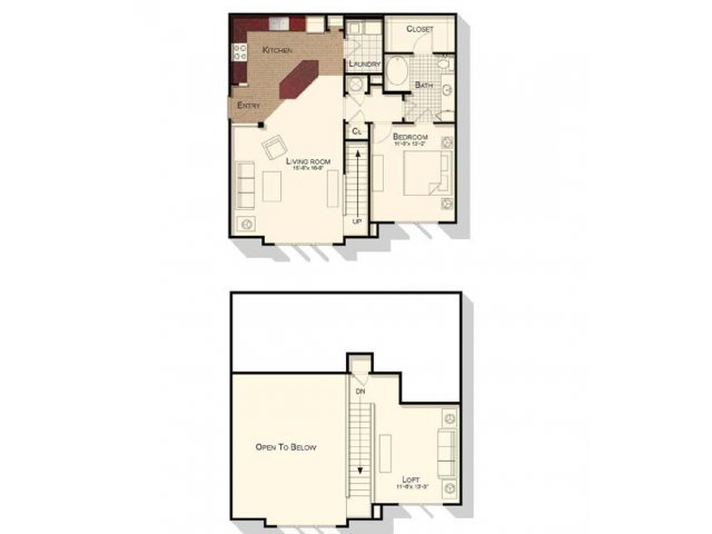One bedroom one bathroom loft floorplan at Southpoint Village Apartments in Durham, NC