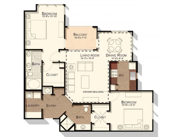 Two bedroom two bathroom floorplan at Southpoint Village Apartments in Durham, NC