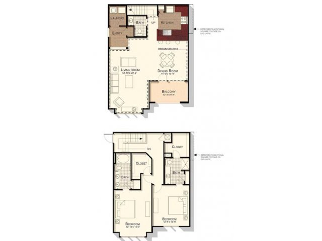 Two bedroom two and a half bathroom townhome floorplan at Southpoint Village Apartments in Durham, NC
